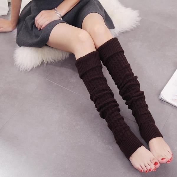 及膝襪 秋冬新品毛線堆堆襪針織護腿過膝襪套保暖加厚靴套老寒腿長筒襪子 萬寶屋