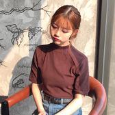短袖T恤春夏女裝韓版素色短袖T恤簡約基礎款短款修身上衣中袖學生打底衫 曼莎時尚