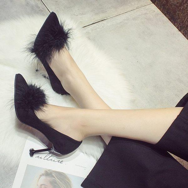 單鞋女韓版高跟單鞋細跟加絨尖頭