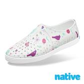 native JERICHO PRINT 女鞋 修身鞋 晴雨鞋 - 貝殼白x北歐綠園 8777