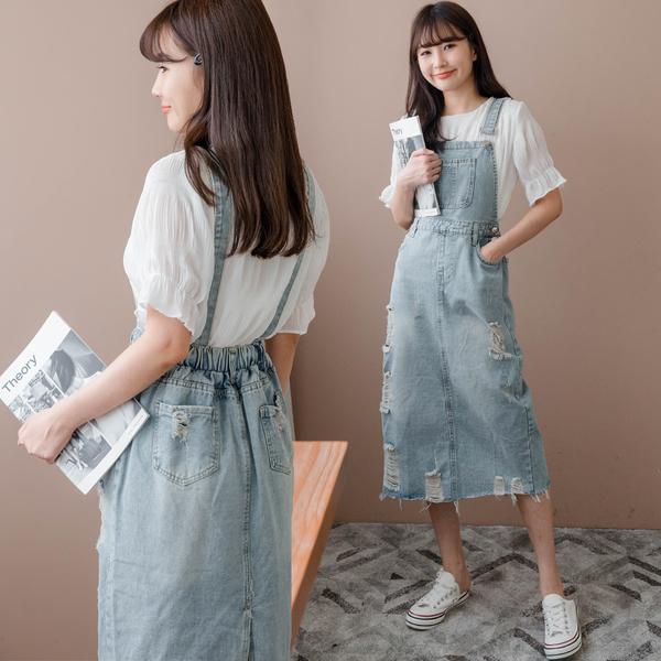 MIUSTAR  胸前口袋鬆緊刷破抽鬚吊帶裙(共1色)【NJ2068】預購