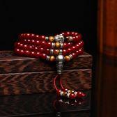 紅瑪瑙黑曜石手鍊女情侶開光本命佛生肖108顆手串轉運飾佛珠男士