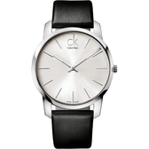 Calvin Klein CK 極簡經典LOGO手錶-銀x黑/43mm K2G211C6