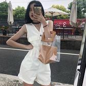 2018夏裝新款時尚復古港味chic純色無袖口袋闊腿連衣褲女配腰帶【99狂歡購物節】