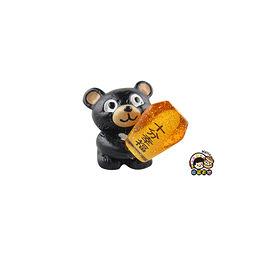 【收藏天地】台灣紀念品*黑熊抱天燈夜光冰箱貼-橘