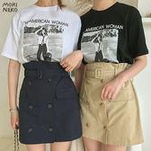 韓系ins英倫雙排扣。風衣感短裙【22804213】*