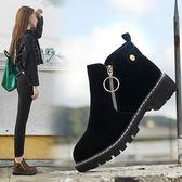 天天新品冬季加絨雪地棉女鞋2019新款時尚平底粗跟休閒馬丁靴子短靴雪地靴