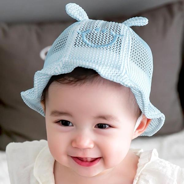 全館83折 夏天網格寶寶帽子3-6-12個月太陽帽嬰兒漁夫帽透氣遮陽帽男女盆帽