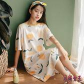 睡裙 女夏季薄款棉質短袖韓版裙子甜美可愛孕婦家居服 QX15741 【花貓女王】