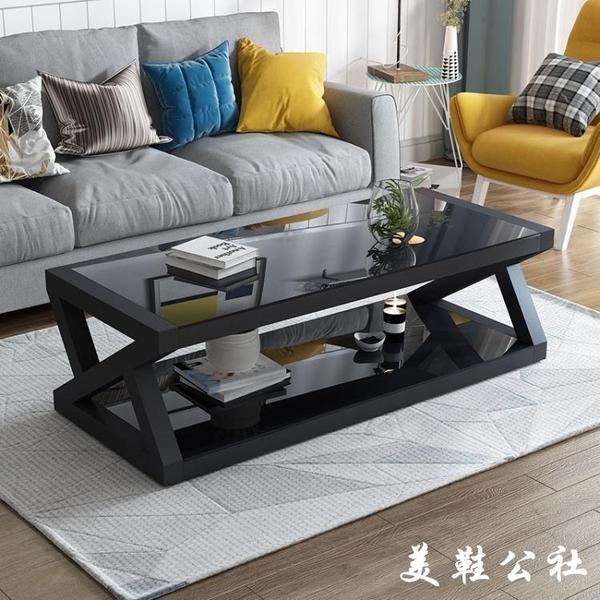 特價現代簡易黑色鋼化玻璃茶幾桌子電視櫃組合簡約客廳歐式小戶型【美鞋公社】