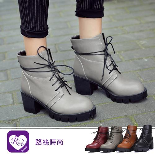 經典潮流小圓頭設計簡約綁帶中跟短靴/4色/35-43碼 (RX1515-666-4) iRurus 路絲時尚