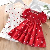 兒童裙新款寶寶夏季裙子女童甜美花邊圓點連衣裙小女孩雪紡短袖裙 幸福第一站