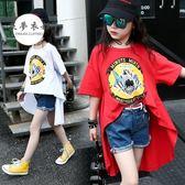 女童T恤童裝新款女童洋氣秋裝短袖T恤中大童不規則卡通印花t恤上衣潮【全館快速出貨】
