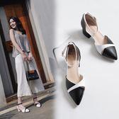 大尺碼女鞋34-43►2019春簡約風尖頭中跟涼鞋子*3色
