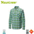【Mountneer 山林 男 彈性抗UV格子長袖襯衫《海藍》】31B05/防曬長袖/夏季襯衫/抗UV/格紋襯衫