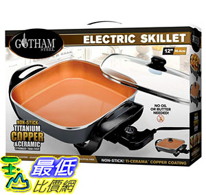 [8美國直購] 不沾鍋 Gotham Steel Electric Skillet with Non Stick Ti–Cerama Copper Coating