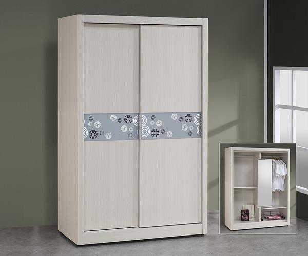 簡約現代 白雪杉 胡桃色 4x7尺 推門衣櫃 推門衣櫥 玻璃圓圈花樣裝飾