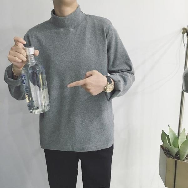 T恤 秋季港風長袖T恤百搭男士正韓潮流圓領素色打底衣服