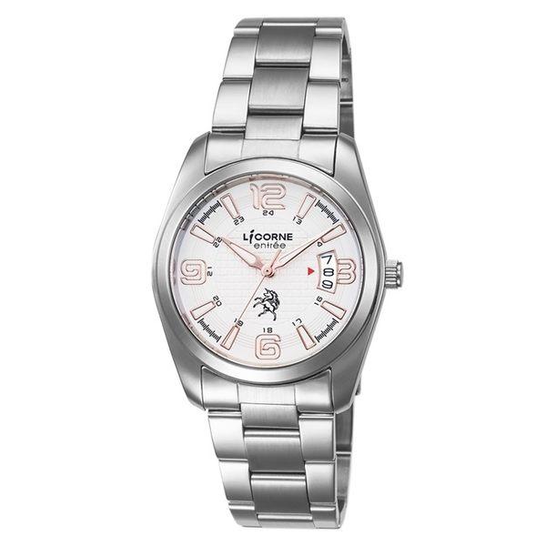 【LICORNE】恩萃 Entrée 簡約時尚設計都市腕錶 (白面/玫瑰紅 LT083BWWA-R2)