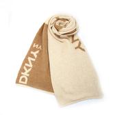 DKNY 素面大字母LOGO混羊毛圍巾(駝色)380000-3