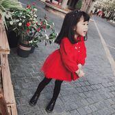 女童連衣裙2018冬季新款過年拜年禮服加絨加厚兒童寶寶新年公主裙【618好康又一發】