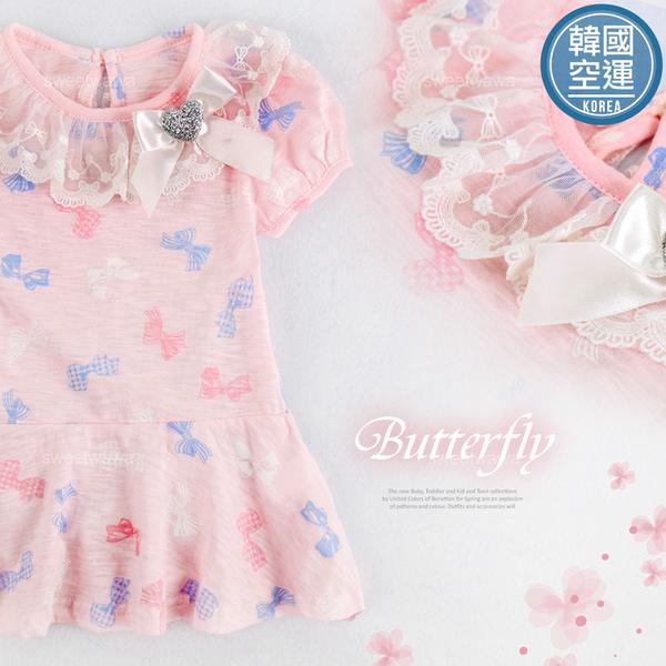 韓國童裝~滿版彩色蝴蝶結波浪上衣小洋裝(250681)★水娃娃時尚童裝★