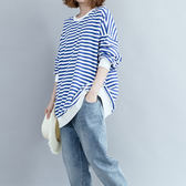 時尚百搭舒適拼色條紋衛衣 A052a ◆ 韓妮小熊