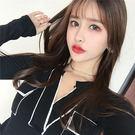 VK精品服飾 韓國風性感拼色大v領修身長...