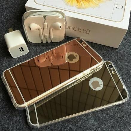【SZ62】iPhone 7/8 plus手機殼 iPhone X 保護套電鍍鏡面TPU軟邊鏡子包邊透明邊