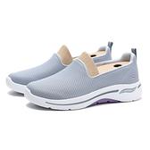 SKECHERS 休閒鞋 GO WALK ARCH FIT 懶人鞋 灰網布 白底 灰 紫 女 (布魯克林) 124401GYLV