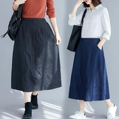 大碼女裝胖妹妹牛仔裙女2020春季新款寬鬆顯瘦洋氣減齡百搭半身裙
