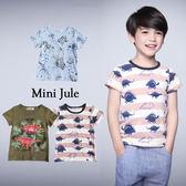 童裝 上衣 趣味恐龍/ 動物幾何三角/森林恐龍/藍恐龍寬條紋短袖T恤(共4款)