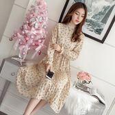 洋裝 春季新款韓版雪紡碎花洋裝喇叭袖收腰顯瘦中長款內搭打底百褶裙 全館單件9折
