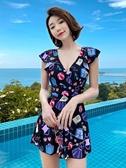 泳裙 泳衣女新款性感泡溫泉顯瘦遮肚連體裙式小胸聚攏韓國游泳裝 莎瓦迪卡