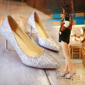 婚鞋高跟鞋女夏新款 韓版 百搭細跟尖頭春季銀色婚鞋新娘鞋單鞋女 衣櫥の秘密