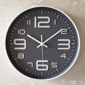 靜音無聲掛鐘客廳個性創意時尚現代簡約電池圓形玻璃時鐘掛墻錶igo 道禾生活館