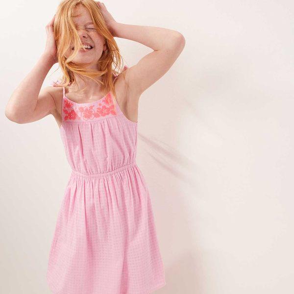 Gap女童 圓領刺繡流蘇寬擺吊帶洋裝 兒童蝴蝶結裙子夏裝 464580-粉色