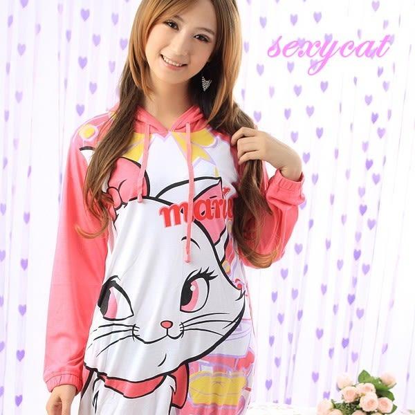 【Sexy cat】可愛卡通 純棉長袖一件式睡衣(卡哇伊貓)