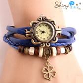 【50A28-3】shiny藍格子-瑕疵特賣.復古經典男女款四葉草編織手環手錶