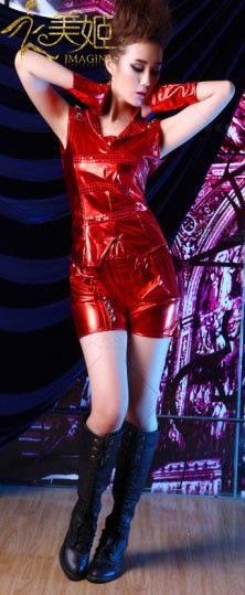衣美姬♥新款大紅色 閃亮 漆皮 夜店俱樂部服裝 表演舞台裝