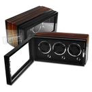 機械錶自動上鍊收藏盒 3旋3入錶座轉動 LED燈 鋼琴烤漆 - 黑x烏金木紋 #HD330-1WB-D