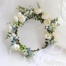新娘頭飾 ins森林系花朵新娘花環頭飾度假配飾婚紗攝影寫真綠植婚禮發飾 韓菲兒