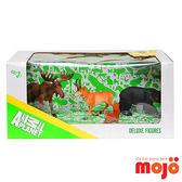 【MOJO FUN 動物模型】精裝禮盒-美洲動物四件組 美洲麋鹿+美國羚羊+松鼠+美洲黑熊(387318)