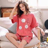中大尺碼短袖印花兩件式套裝睡衣女 休閒月子服 家居服 DR26056【男人與流行】