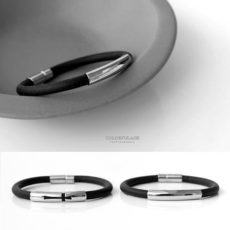 手環 帥氣感鏤空白鋼十字/素面矽膠手環手鍊 時尚休閒風中性款式【NA389】潮流運動風