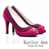 ★零碼出清★Keeley Ann 摩登時尚~撞色質感魚口高跟鞋(桃紅色)