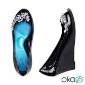 【Oka-B】CLARA水晶裝飾露趾魚口楔型高跟鞋  黑色(K1025CL-BL)