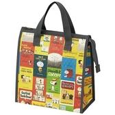 小禮堂 史努比 方形不織布保冷便當袋 保冷提袋 野餐袋 保冷袋 (黃綠 海報) 4973307-50273