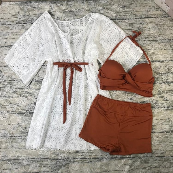 小香風分體泳衣女三件套顯瘦遮肚保守罩衫小胸比基尼性感少女泳裝