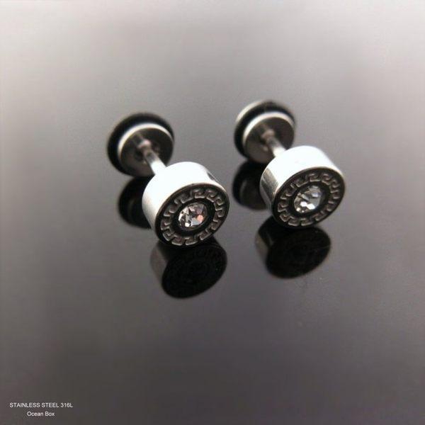 ☆§海洋盒子§☆小巧雕紋單鑽圓形~螺旋針式白鋼耳環 (抗過敏.可碰水.不退色)